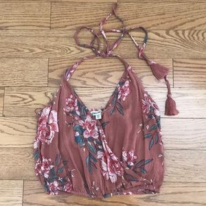 Billabong Tops - NEW BILLABONG HALTER TOP TASSEL TIES FLORAL S
